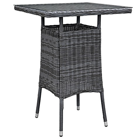 Modway Summon Outdoor Wicker Small Bar Table In Grey Bed