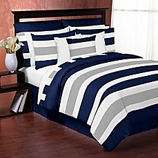 image of Sweet Jojo Designs Navy and Grey Stripe Comforter Set