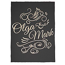 image of Sleeping Partners Swirl Script Knit Throw Blanket