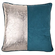 image of thro lenora 20 inch square feather fill crackle throw pillow in teal - Decorator Pillows