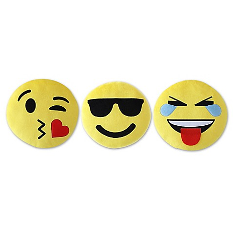 VCNY Novelty Emoji Throw Pillow (Set of 3)