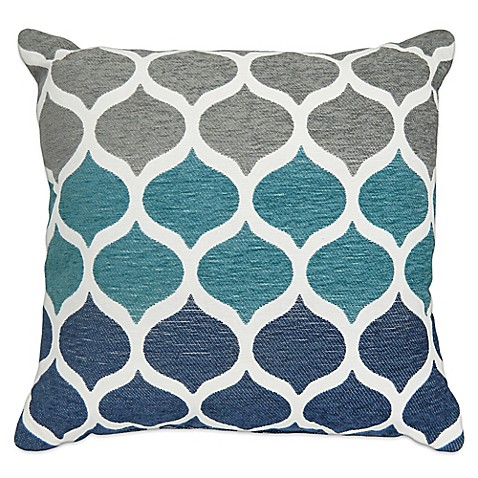 image of aura hollis chenille square throw pillow in aqua - Blue Decorative Pillows