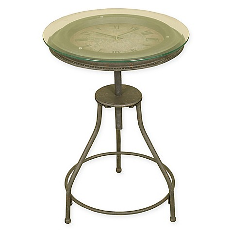 Inlaid Clock Accent Table In Bronze Bed Bath Beyond