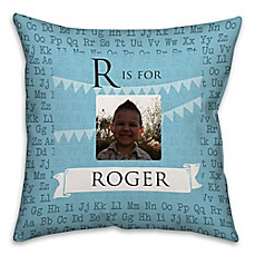 image of Alphabet Square Throw Pillow in Turquoise Blue