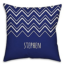image of Chevron Square Throw Pillow in Blue/White