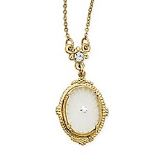image of Downton Abbey® Goldtone Frosted Glass and Crystal-Accented Pendant Necklace