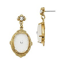 image of Downton Abbey® Goldtone Frosted Glass and Crystal-Accented Drop Earrings