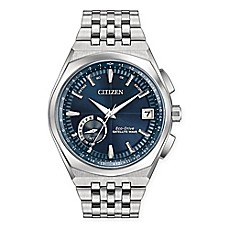 image of Citizen Eco-Drive Mens' 44mm Satellite Wave Watch in Silvertone Stainless Steel with Blue Dial