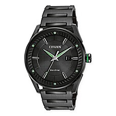 image of Citizen Eco-Drive Men's 42mm Drive CTO Watch in Black Ion Plated Stainless Steel with Green Accents