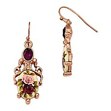 image of 1928® Jewelry Rose Goldtone Crystal-Accented Floral Dangle Earrings