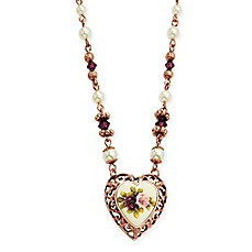 image of 1928® Jewelry Rose Goldtone Simulated Pearl and Crystal-Accented 18-Inch Chain Heart Necklace
