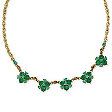 image of 1928® Jewelry Goldtone Blue and Green Crystal Cluster 16-Inch Necklace