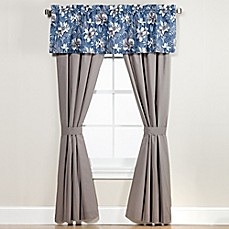 image of Anguilla Window Curtain Panel Pair and Valance in Blue