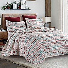 image of merry way quilt set in redgreen