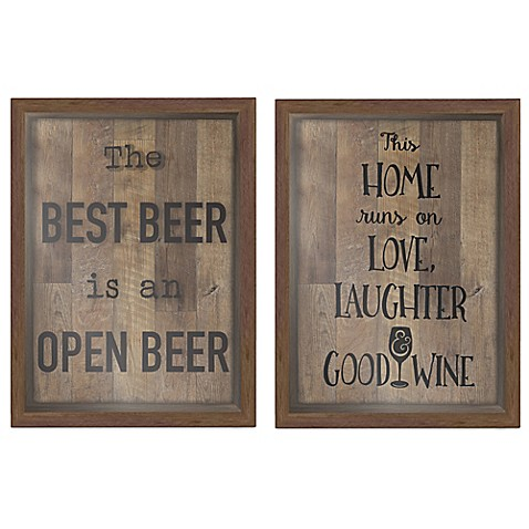 good wine/best beer shadow box wall art in brown - bed bath & beyond