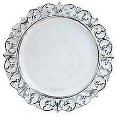 image of Charge It by Jay Embossed Antique Charger in White