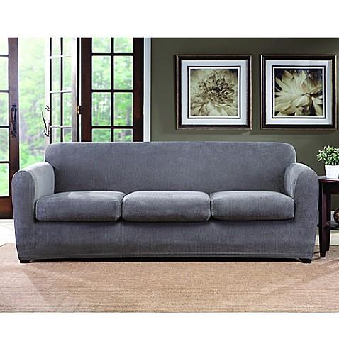 Sure Fitu0026reg; Ultimate Stretch Chenille 3 Cushion Sofa Slipcover ...