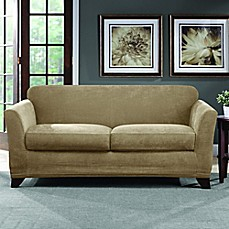 image of sure fit ultimate stretch chenille loveseat slipcover