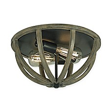 image of Feiss® Flush Mount 2-Light Ceiling Mount in Weather Oak Wood and Antique Forged Iron