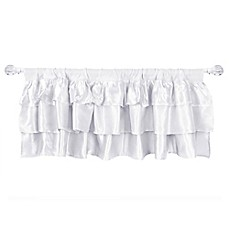image of Tadpoles Ruffle Satin Window Valance in White
