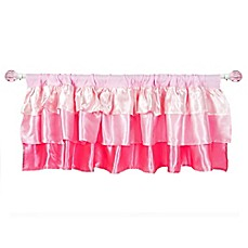 image of Tadpoles Ruffled Satin Straight Window Valance in Pink