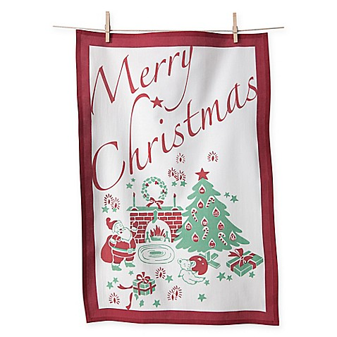 Flour Sack Cotton Merry Christmas Kitchen Towels In Red