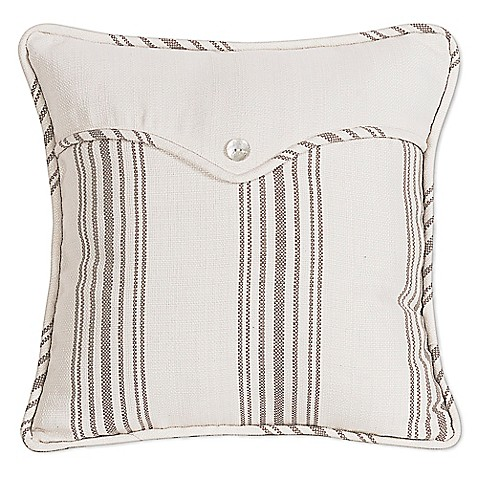 HiEnd Accents Gramercy Linen Envelope Square Throw Pillow in Cream - Bed Bath & Beyond