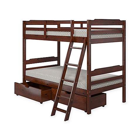 Buy manhattan comfort solid pine wood twin bunk bed with for Wood twin bed with storage