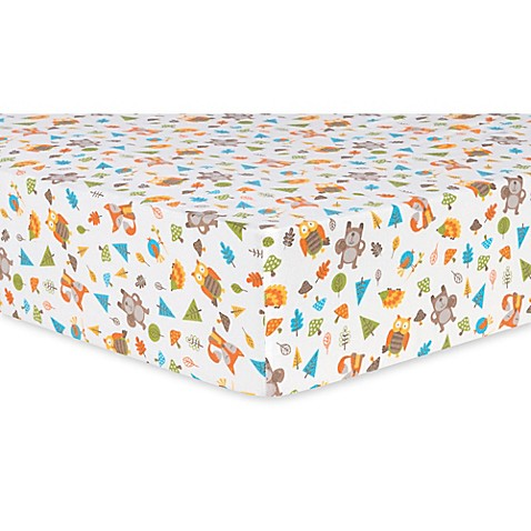 Trend Lab 174 Woodsy Animals Deluxe Flannel Fitted Crib Sheet