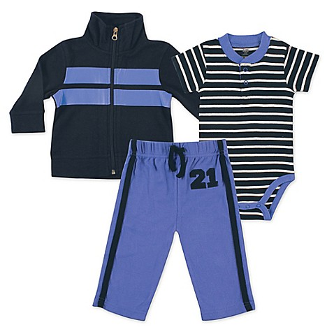 BabyVision® Hudson Baby® Size 0-3M 3-Piece Rugby Bodysuit, Jacket, and Pant Set in Blue