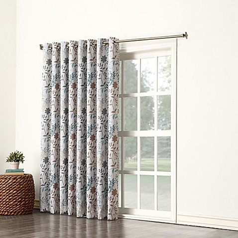 Sun Zero Allena Grommet Top Extra Wide Patio Door Curtain Panel In Stone