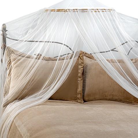 Siam bed canopy and mosquito net in ivory bed bath beyond for Bed with mosquito net decoration