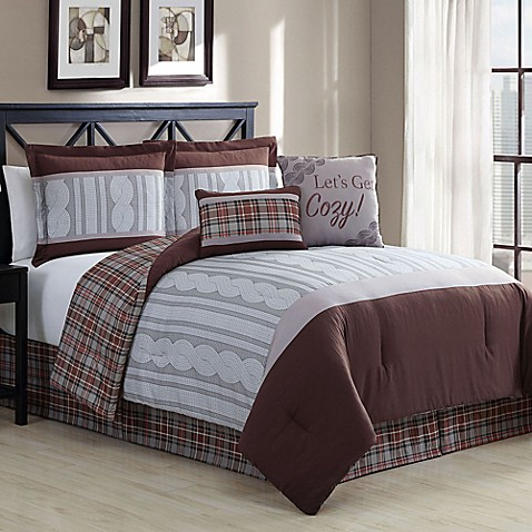 Telluride 6 Piece Reversible Comforter Set In Brown Bed