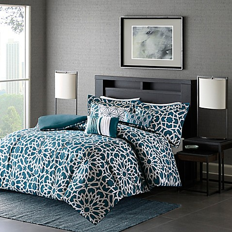 buy madison park carlow king california king duvet cover set in teal from bed bath beyond. Black Bedroom Furniture Sets. Home Design Ideas
