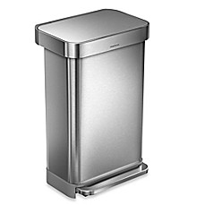 Simplehuman® 45 Liter Rectangular Liner Rim Step Trash Can With Liner Pocket