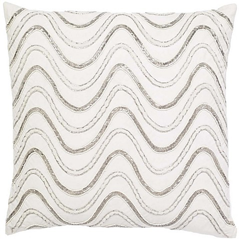 Aura Squiggle Square Throw Pillow In White Silver Bed
