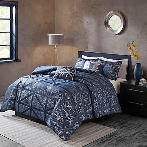 buy madison park dante king california king duvet cover set in navy from bed bath beyond. Black Bedroom Furniture Sets. Home Design Ideas