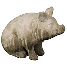 image of A&B Home Wilbur Pig Sitting Accent Garden Statue Grey/Green