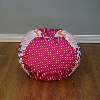 Image Of Medium Bean Bag Chair In Multicolor Dotted Chevron