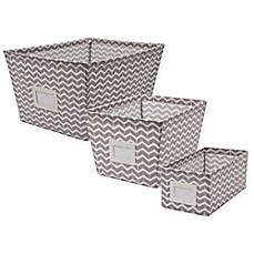 Image Of Canvas Storage Bin With Chevron Print