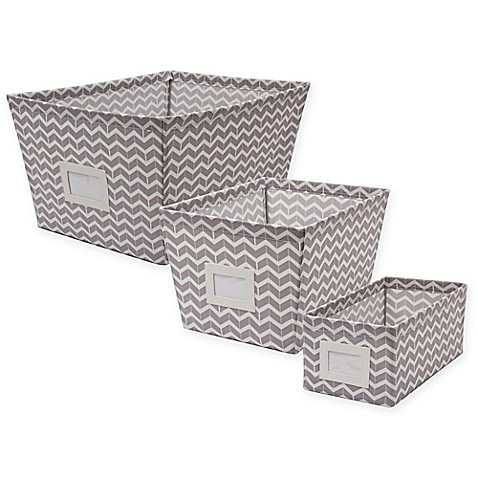 Canvas Storage Bin with Chevron Print  sc 1 st  Bed Bath u0026 Beyond : woven storage bin  - Aquiesqueretaro.Com