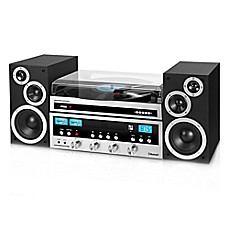 image of Innovative Technology Classic Retro Bluetooth® Stereo System with Turntable in Black and Silver