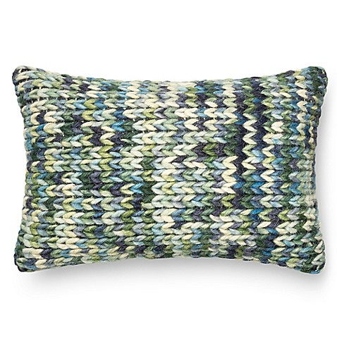 Loloi Thick Knit Yarn Rectangle Down Throw Pillow in Green/Blue - Bed Bath & Beyond