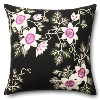 Black And Ivory Throw Pillows : Loloi Floral Embroidery Square Throw Pillow in Black/Ivory - Bed Bath & Beyond