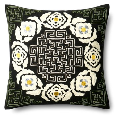Black And Ivory Throw Pillows : Loloi Flower Maze Square Throw Pillow in Black/Ivory - Bed Bath & Beyond