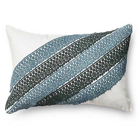 Blue Rectangle Throw Pillow : Loloi Diagonal Crochet Rectangle Throw Pillow in Blue/White - Bed Bath & Beyond