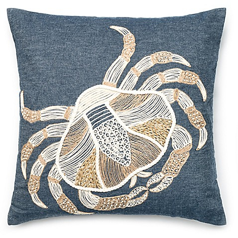 Denim Crab Square Down Throw Pillow in Blue/Ivory - Bed Bath & Beyond