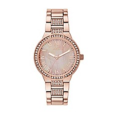 image of Relic® Julia Glitz Ladies' 34mm White Dial Watch in Rose Goldtone Stainless Steel