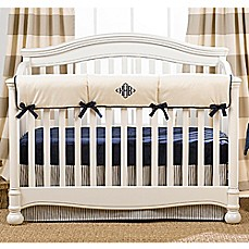 image of Liz And Roo Sailcloth Crib Rail Guard in Navy/Tan