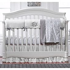 print for grey gray cribs baby padded crib damask cover guard rail covers white guards long